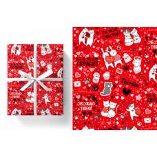 Упаковочная бумага (0,7*1 м) Счастье быть вместе!, Красный, 5 шт.