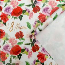 Упаковочная бумага (0,7*1 м) Акварельные цветы 8 марта, Белый, 10 шт.