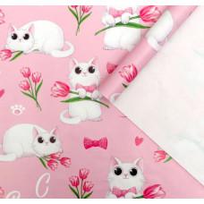 Упаковочная бумага (0,7*1 м) С 8 марта, Розовый, 10 шт.