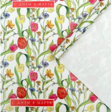 Упаковочная бумага (0,7*1 м) Тюльпаны на 8 марта, Белый, 10 шт.
