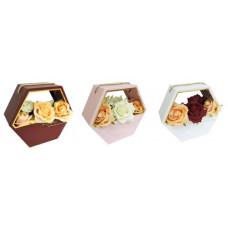 Коробка корзина для цветов 6-гранник с ручкой 25*22*10см в ассортименте