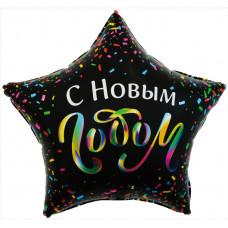 Шар (22''/56 см) Звезда, С Новым Годом (разноцветное конфетти), Черный, 1 шт. в упак. Falali