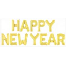 "Набор шаров-букв (16''/41 см) Мини-Надпись ""Happy New Year"", Золото, 1 шт. в упак. Falali"