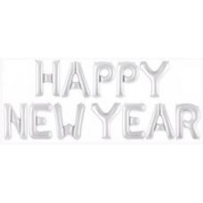 """Набор шаров-букв (16''/41 см) Мини-Надпись """"Happy New Year"""", Серебро, 1 шт. в упак. Falali"""