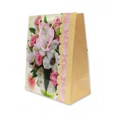 """Пакет лам. вертик. 26*33*14см """"Белые лилии и розы"""" 1шт ПП-1913"""