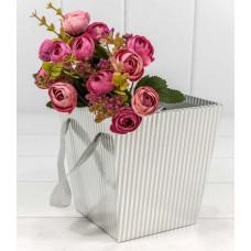 Коробка для цветов Полосы, Серебро, 14,5*14,5*15 см, 1 шт.