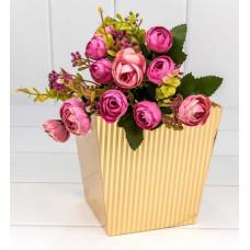 Коробка для цветов Полосы, Золото, 14,5*14,5*15 см, 1 шт.