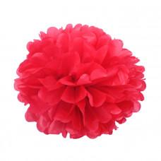 Декоративное украшение, Помпон, Красный, 30 см.