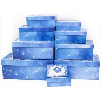 Коробка Новогодняя панорама, Синий,   22*13,5*8,5 см, 1шт.