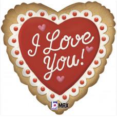 Шар (18''/46 см) Сердце, Печенье Валентинка, Я Люблю Тебя, Красный, 1 шт. Grabo