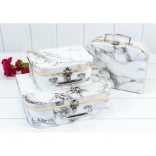 Набор коробок Чемодан, Мрамор, Белый, 30*21*9,5 см, 3 шт.