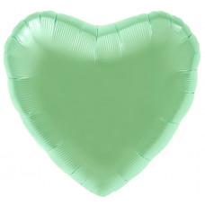 Шар (19''/48 см) Сердце, Мятный, Сатин, 1 шт. Agura