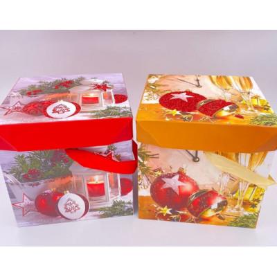 Коробка складная Новогодние шары, 15*15*15 см, 1 шт.