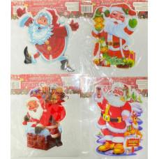 """Наклейка гелевая """"Санта Клаус"""" в ассортименте 1 шт."""