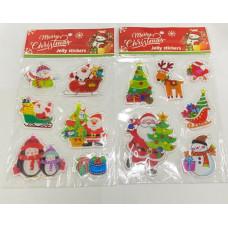 """Наклейка гелевая """"Merry Christmas"""" в ассортименте 6 шт."""