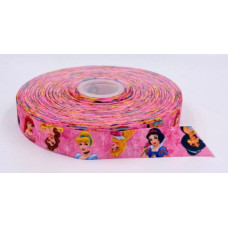 Лента репсовая 2,5см Дисней Принцессы розовая 1м