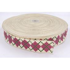 Лента Тканевая 4см вышивка крестиком 1м