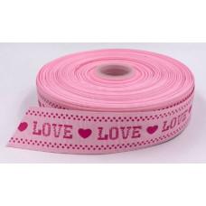 Лента репсовая 4см LOVE розовая 1м