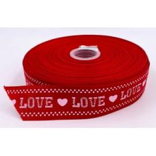 Лента репсовая 4см LOVE красная 1м