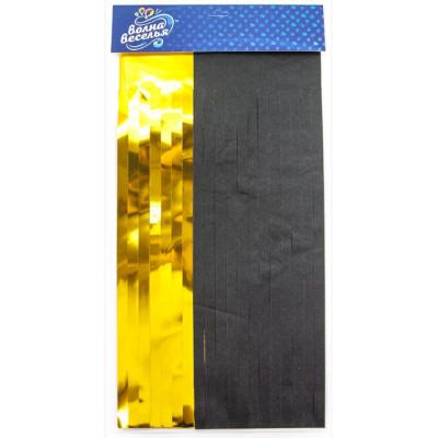 Гирлянда Тассел, Черный/Золото, Металлик, 35*12 см, 10 листов.