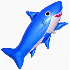 """Шар фольгированный 39""""/99см фигура """"Счастливая акула"""" синий Flexmetal"""