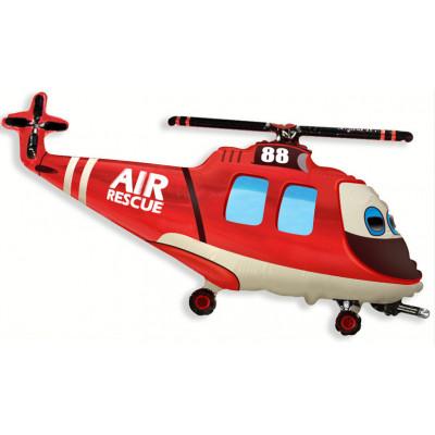 Шар (38''/97 см) Фигура, Вертолет-Спасатель, Красный, 1 шт. Flexmetal