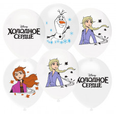 Шар (12''/30 см) Холодное сердце, Белый (200)/Прозрачный (600), кристалл, 1 ст, 25 шт. Орбиталь