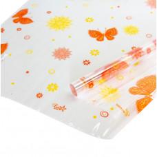 Упаковочная пленка (0,7*8 м) Сиеста, Воздушные бабочки, Желтый/Оранжевый, 1 шт.