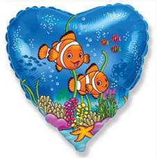 Шар (18''/46 см) Сердце, Друзья рыбы-клоуны, Синий, 1 шт. Flexmetal