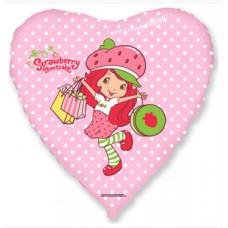 Шар (18''/46 см) Сердце, Клубничка с покупками, Розовый, 1 шт. Flexmetal