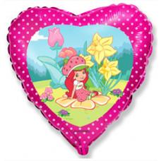 Шар (18''/46 см) Сердце, Клубничка в саду, Розовый, 1 шт. Flexmetal