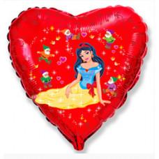 Шар (18''/46 см) Сердце, Белоснежка и гномы, Красный, 1 шт. Flexmetal