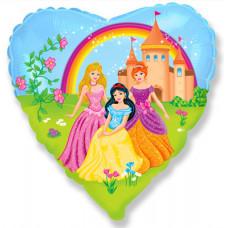 Шар (18''/46 см) Сердце, Замок принцессы, 1 шт. Flexmetal