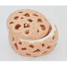 Шкатулка декоративная резная 7.5*7.5*4.5см персиковый фарфор