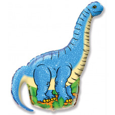 Шар (43''/109 см) Фигура, Динозавр Диплодок, Синий, 1 шт. Flexmetal