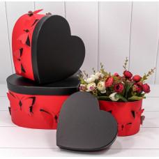 Набор коробок Сердце, Бабочки, Красный, 28*26*15 см, 3 шт.