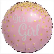 Шар (18''/46 см) Круг, С Рождением Девочки (золотое конфетти), Розовый, 1 шт. Falali