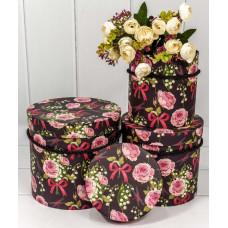 Набор коробок Цилиндр, Розы и ландыши, Черный, 17*17*18 см, 3 шт.
