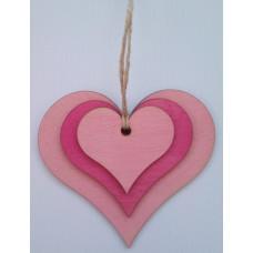"""Сувенир подвесной деревянный №3 """"Сердца в Сердце"""" 9.5*10*0.2см малиново-розовый"""