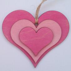 """Сувенир подвесной деревянный №6 """"Сердца в Сердце"""" 9.5*10*0.2см малиново-розовый"""