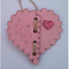 """Сувенир подвесной деревянный №11 """"Сердца в Сердце"""" 9.5*10*0.2см малиново-розовый"""