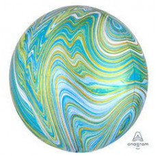 Шар (16''/41 см) Сфера 3D, Мрамор Blue Green, 1шт. Anagram