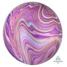 Шар (16''/41 см) Сфера 3D, Мрамор Purple, 1шт. Anagram