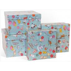Коробка Веселый День Рождения, Голубой, 23*23*13 см, 1 шт.