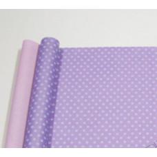 """Бумага матовая двухсторонняя 70см*10м±10см """"Горох белый"""" на сиреневом пастель/розовый пастель"""