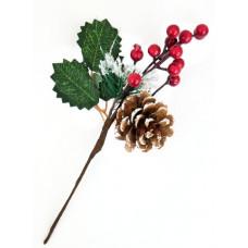 Ветка хвойная в снегу с ягодками и шишкой 26 см