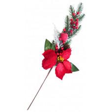 Ветка хвойная с цветком, ягодками и шишкой 64 см