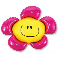Шар (15''/38 см) Мини-цветок, Солнечная улыбка, Фуше, 1 шт. Flexmetal
