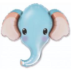 Шар (12''/30 см) Мини-фигура, Голова, Милый Слоник, Голубой, 1 шт. Flexmetal