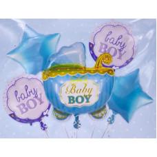 Набор шаров (35''/89 см) Коляска для мальчика (baby), Голубой, 5 шт. в упак. Falali
